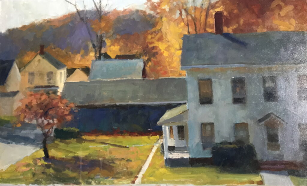 New Milford Houses, Oil on Canvas, 24 x 36 Inches, by Susan Grisell, $1500