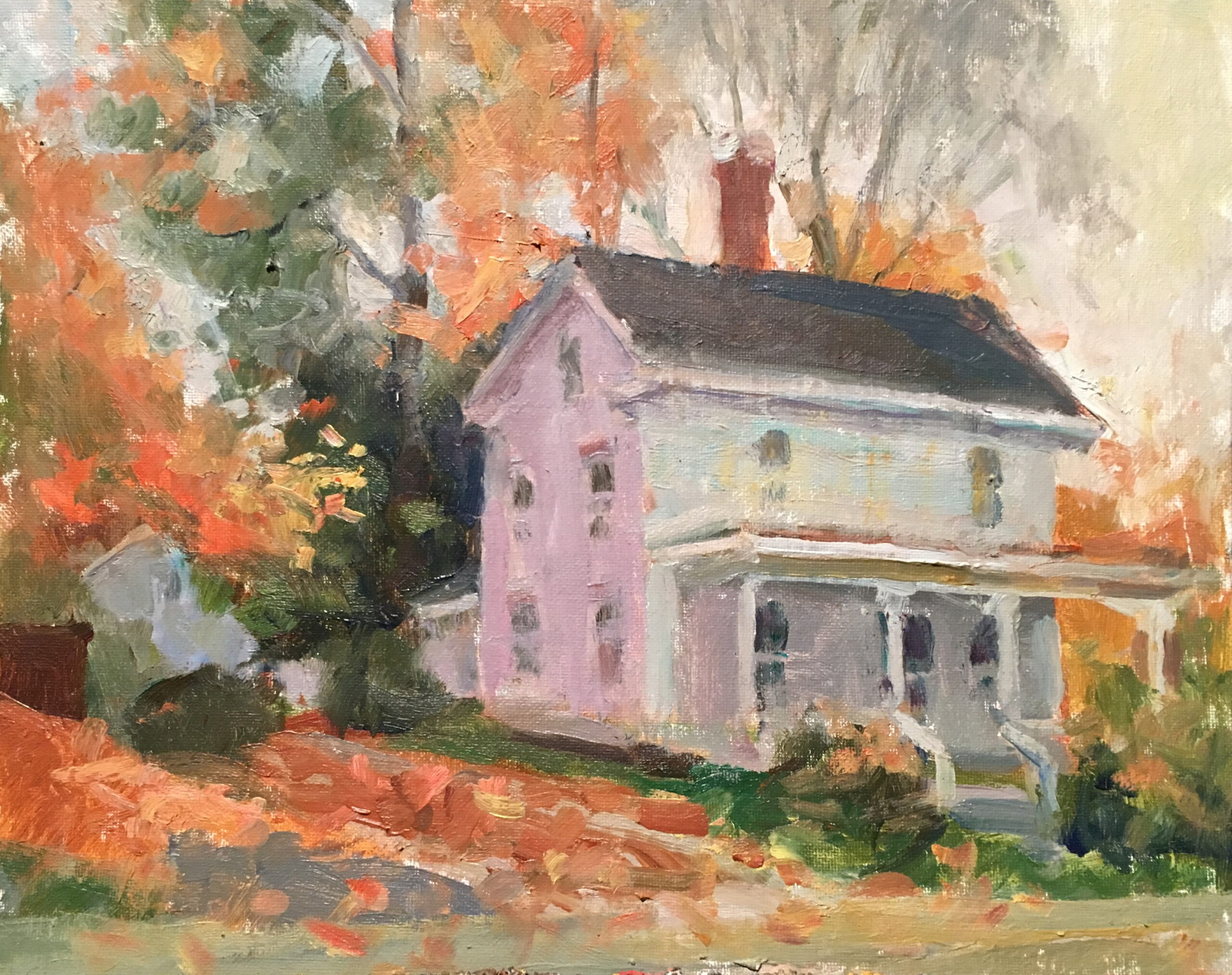 October on Main Street, Oil on Canvas on Panel, 11 x 14 Inches, by Susan Grisell, $300