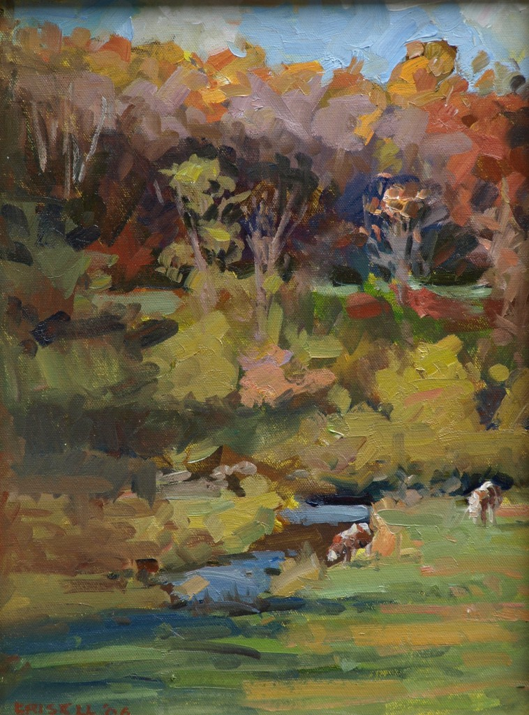 October Pasture, Oil on Panel, 16 x 12 Inches, by Susan Grisell, $275