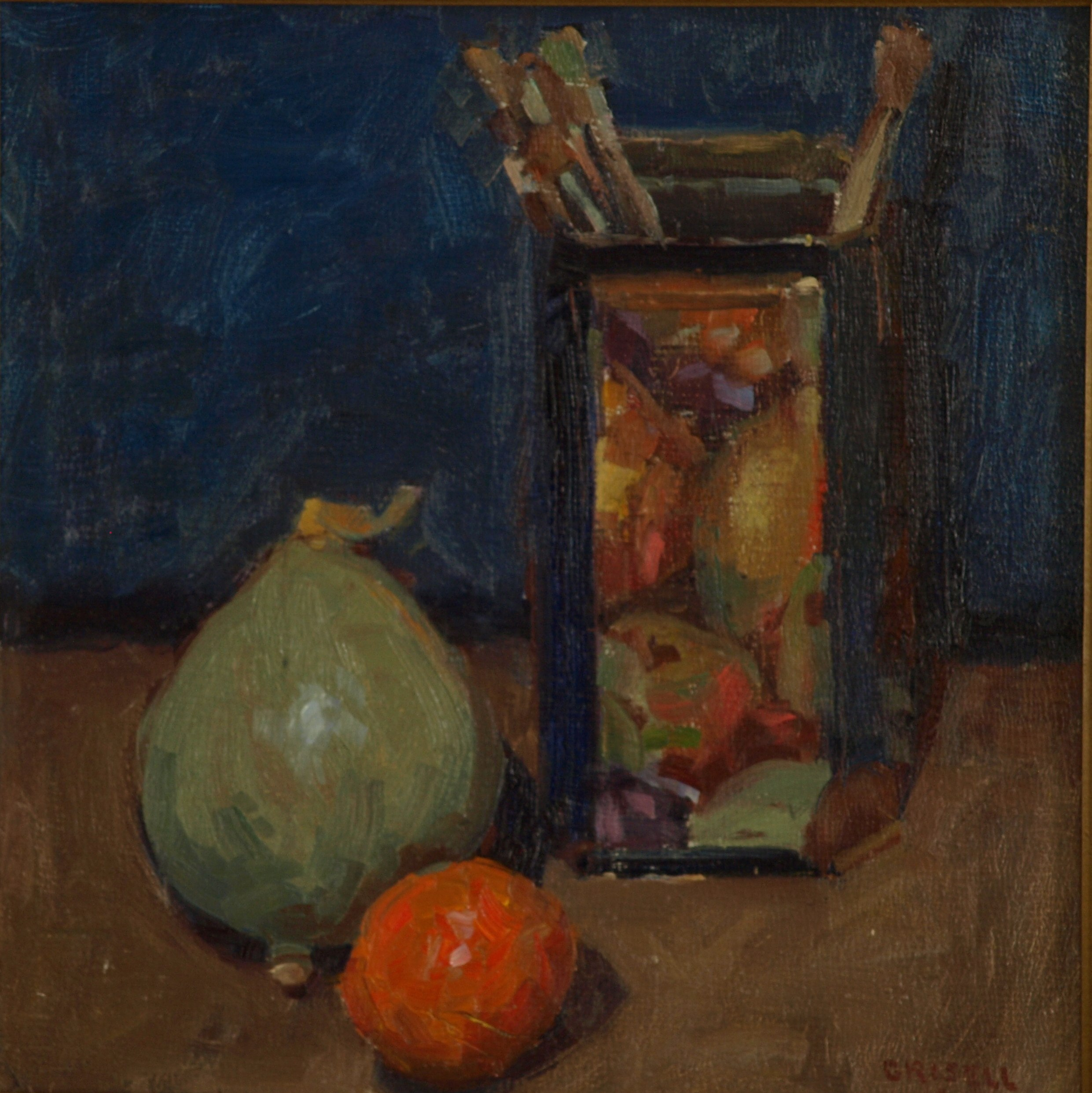 Paintbrushes Squash and Orange, Oil on Panel, 12 x 12 Inches, by Susan Grisell, $250