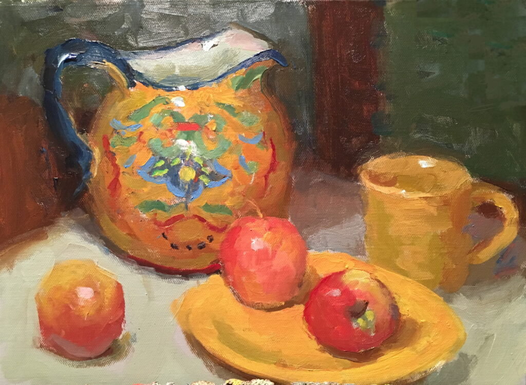 Painted Pitcher, Oil on Canvas on Panel, 11 x 14 Inches, by Susan Grisell, $300