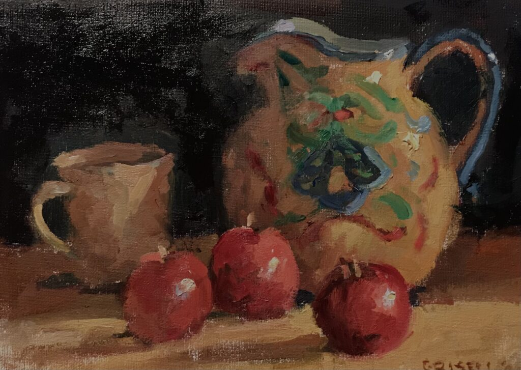 Painted Pitcher, Oil on Canvas on Panel, 9 x 12 Inches, by Susan Grisell, $200