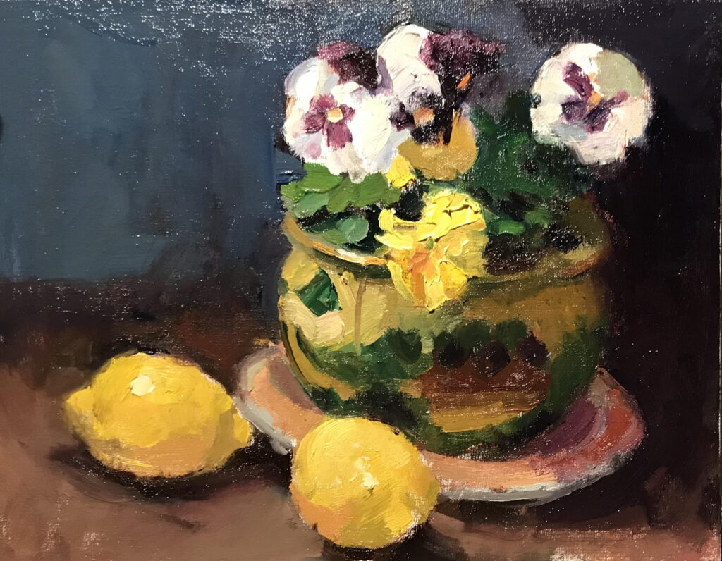 Pansies and Lemons, Oil on Canvas on Panel, 11 x 14 Inches, by Susan Grisell, $300