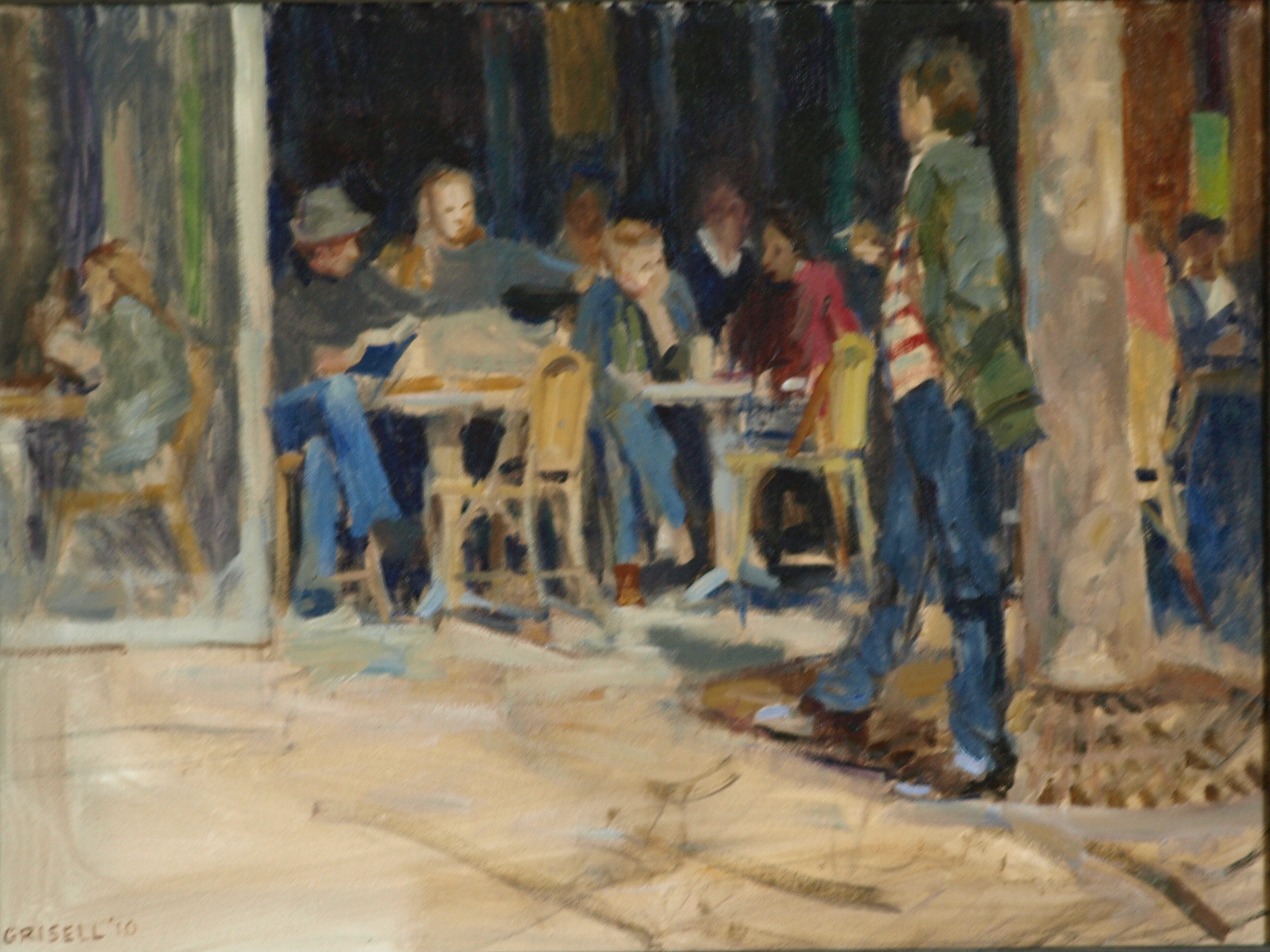 Paris Cafe, Oil on Canvas, 18 x 24 Inches, by Susan Grisell, $650