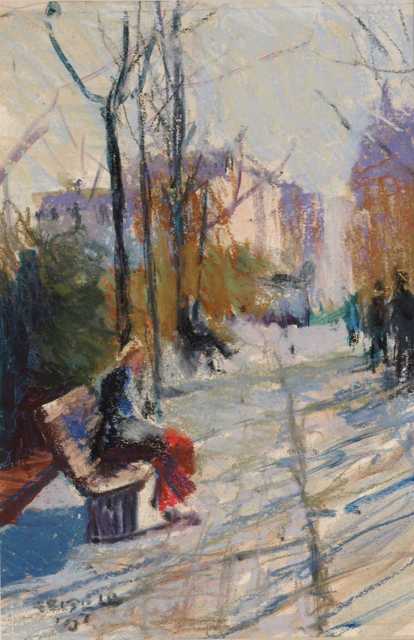 Park Bench - Paris, Matted Pastel on Paper, 10 x 7 Inches, by Susan Grisell, $250