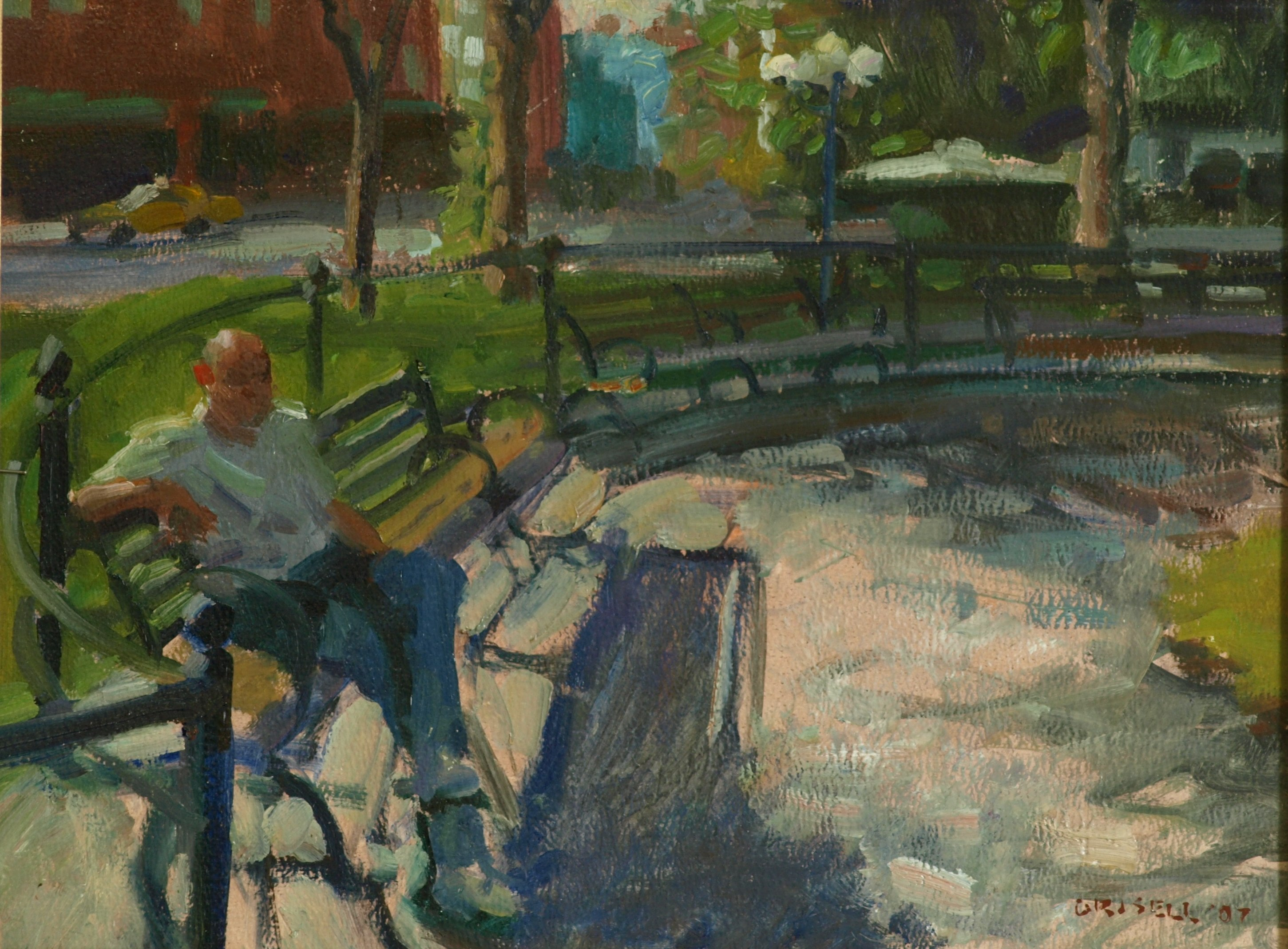 Park Bench - Union Square, Oil on Panel, 12 x 16 Inches, by Susan Grisell, $300