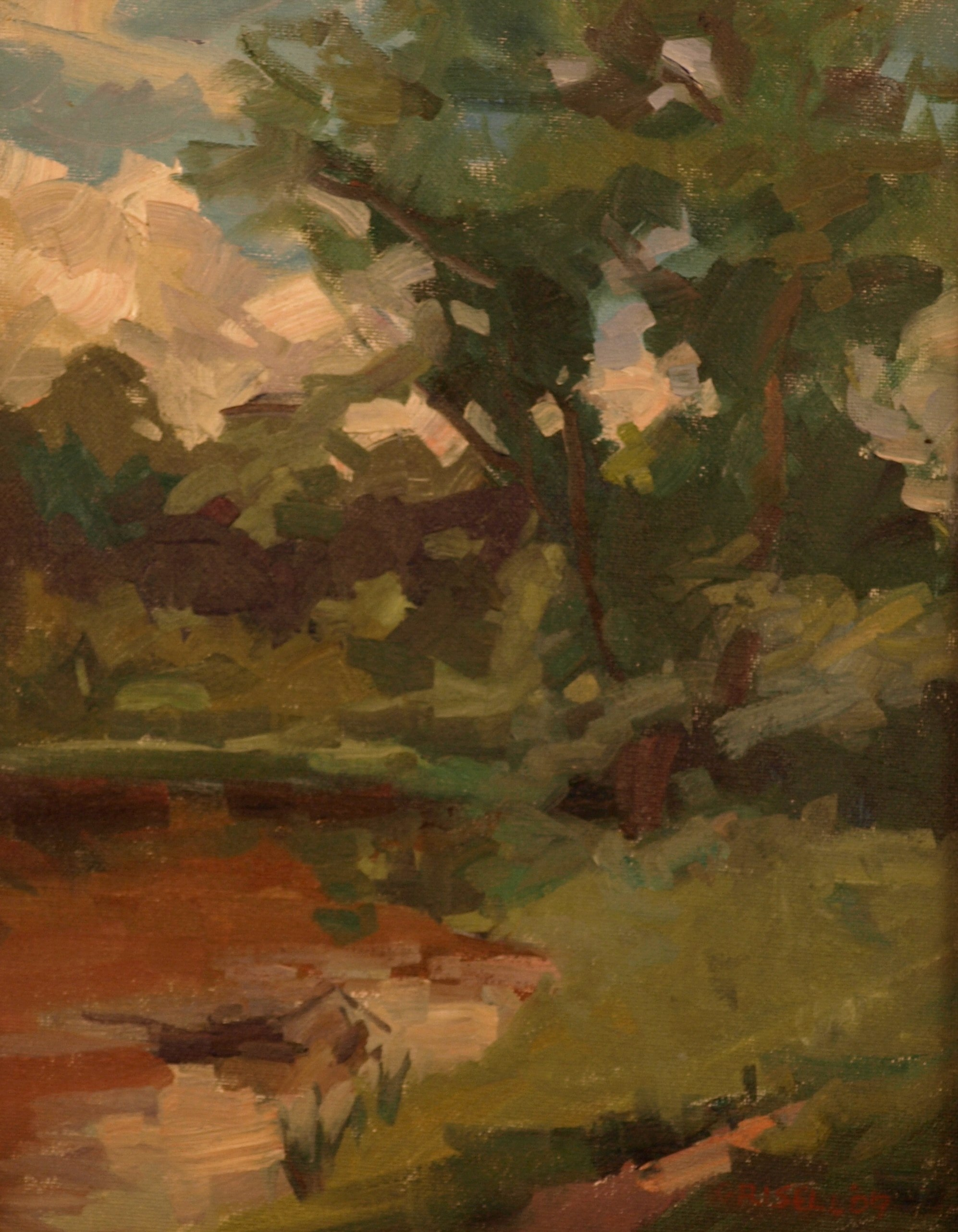 Pasture Trees and Brook, Oil on Board, 14 x 11 Inches, by Susan Grisell, $250