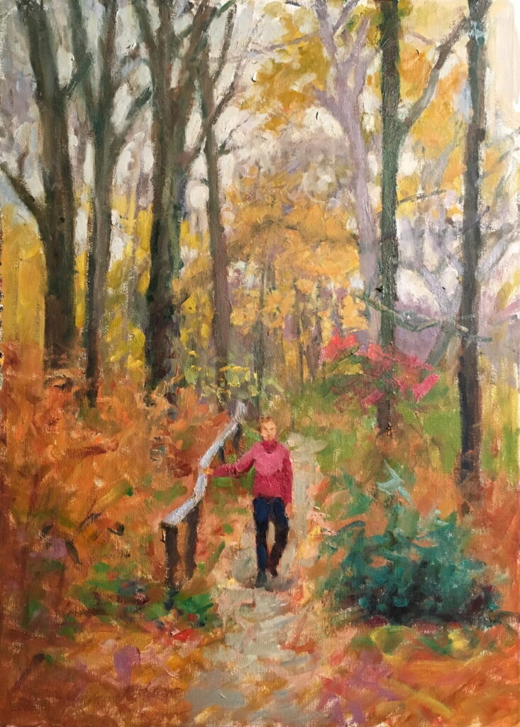Path in Autumn, Oil on Canvas, 24 x 18 Inches, by Susan Grisell, $750