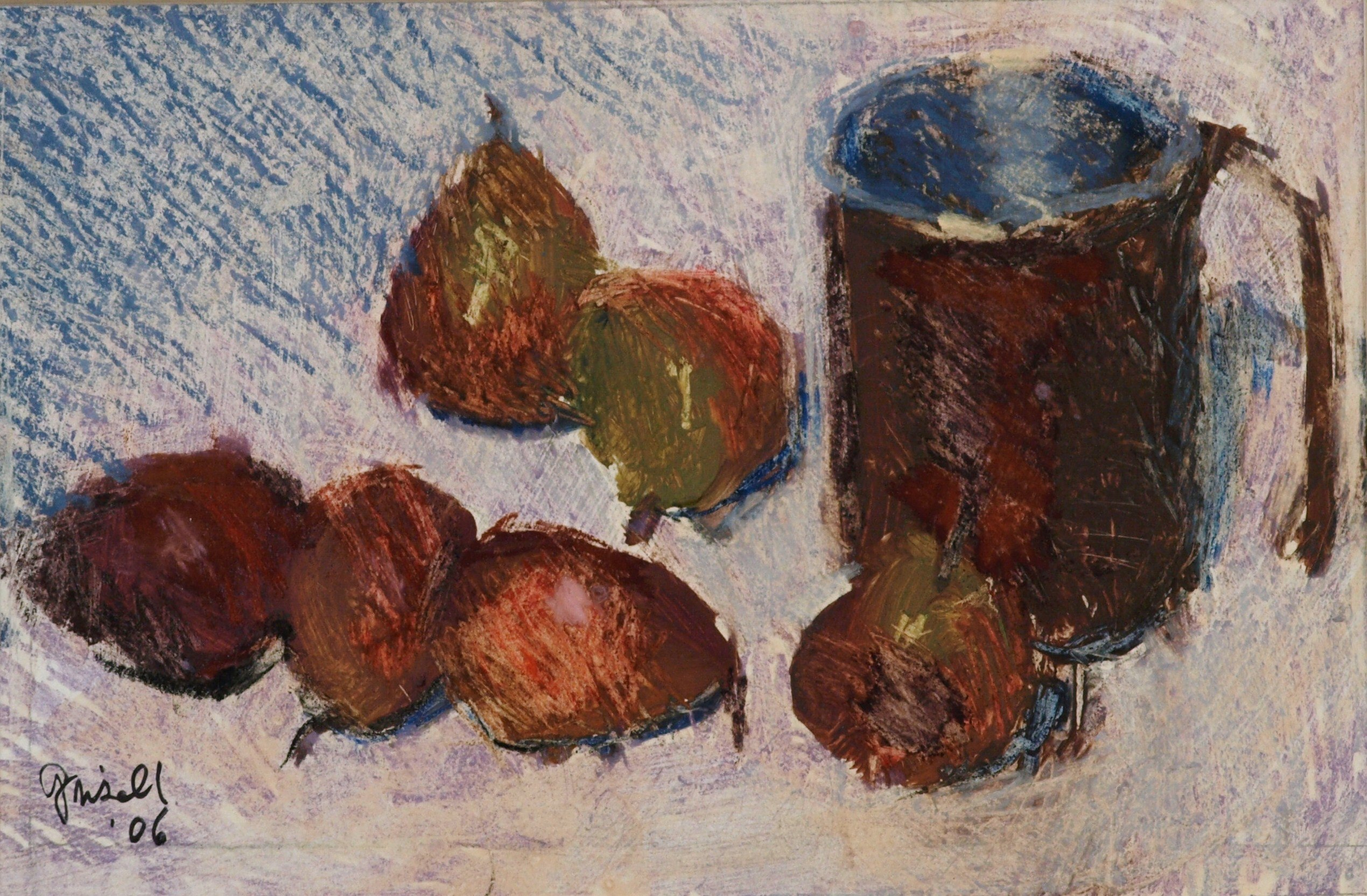 Pears and Copper Cup, Matted Pastel on Paper, 7 x 10 Inches, by Susan Grisell, $250