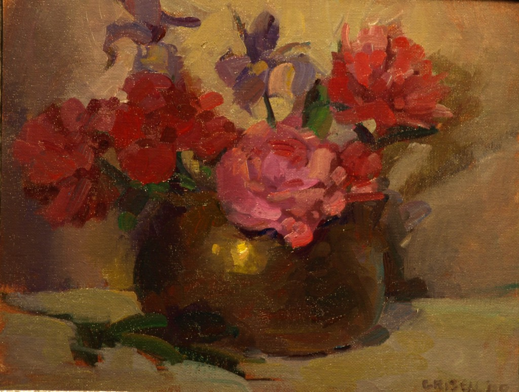 Peonies and Iris, Oil on Canvas on Panel, 11 x 14 Inches, by Susan Grisell, $275