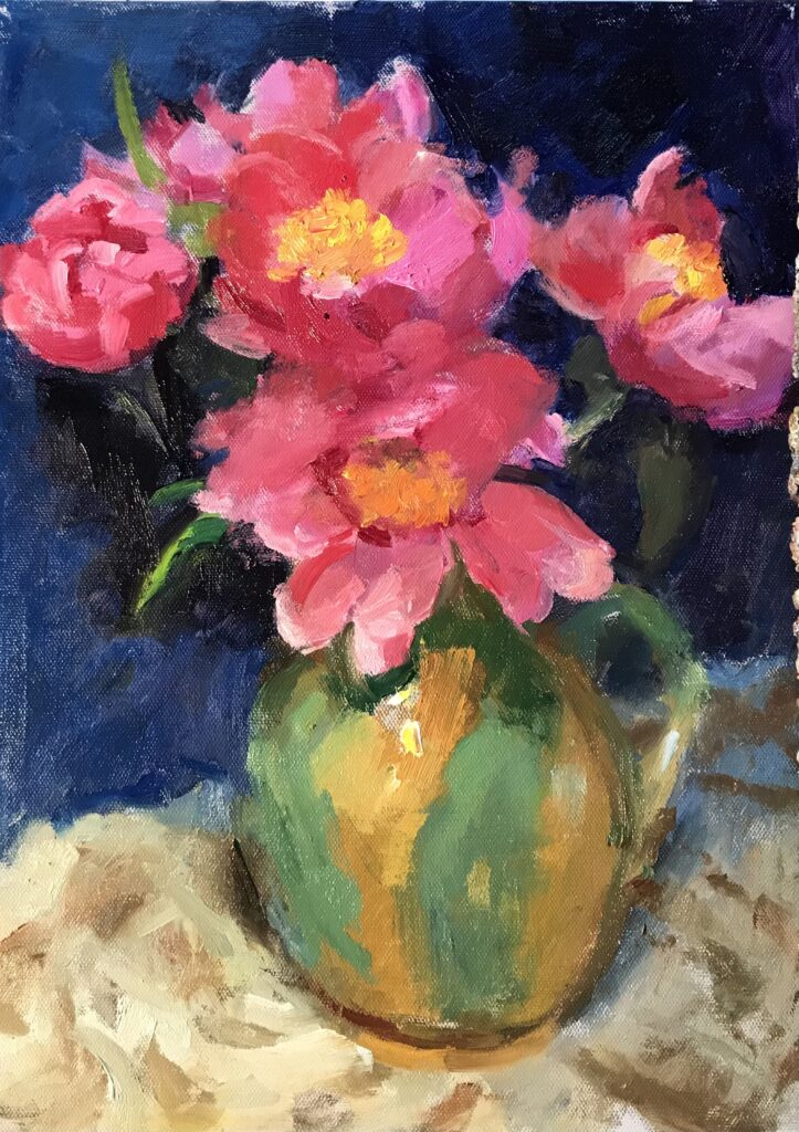 """""""Peonies and Pitcher"""" Oil on Canvas on Panel, 16 x 12 Inches, by Susan Grisell $325"""