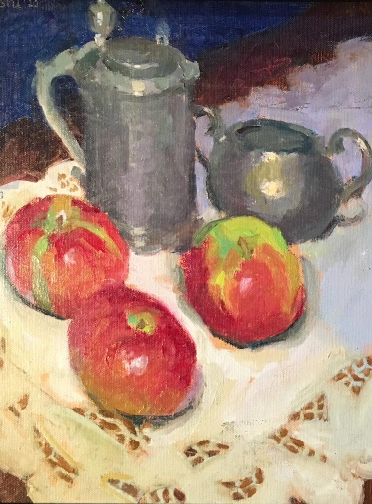 Pewter Apples and Lace, Oil on Canvas on Panel, 14 x 11 Inches, by Susan Grisell, $300