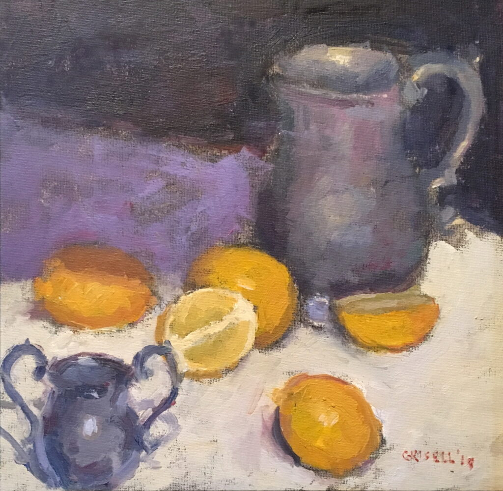 Pewter and Lemons, Oil on Canvas on Panel, 12 x 12 Inches, by Susan Grisell, $325