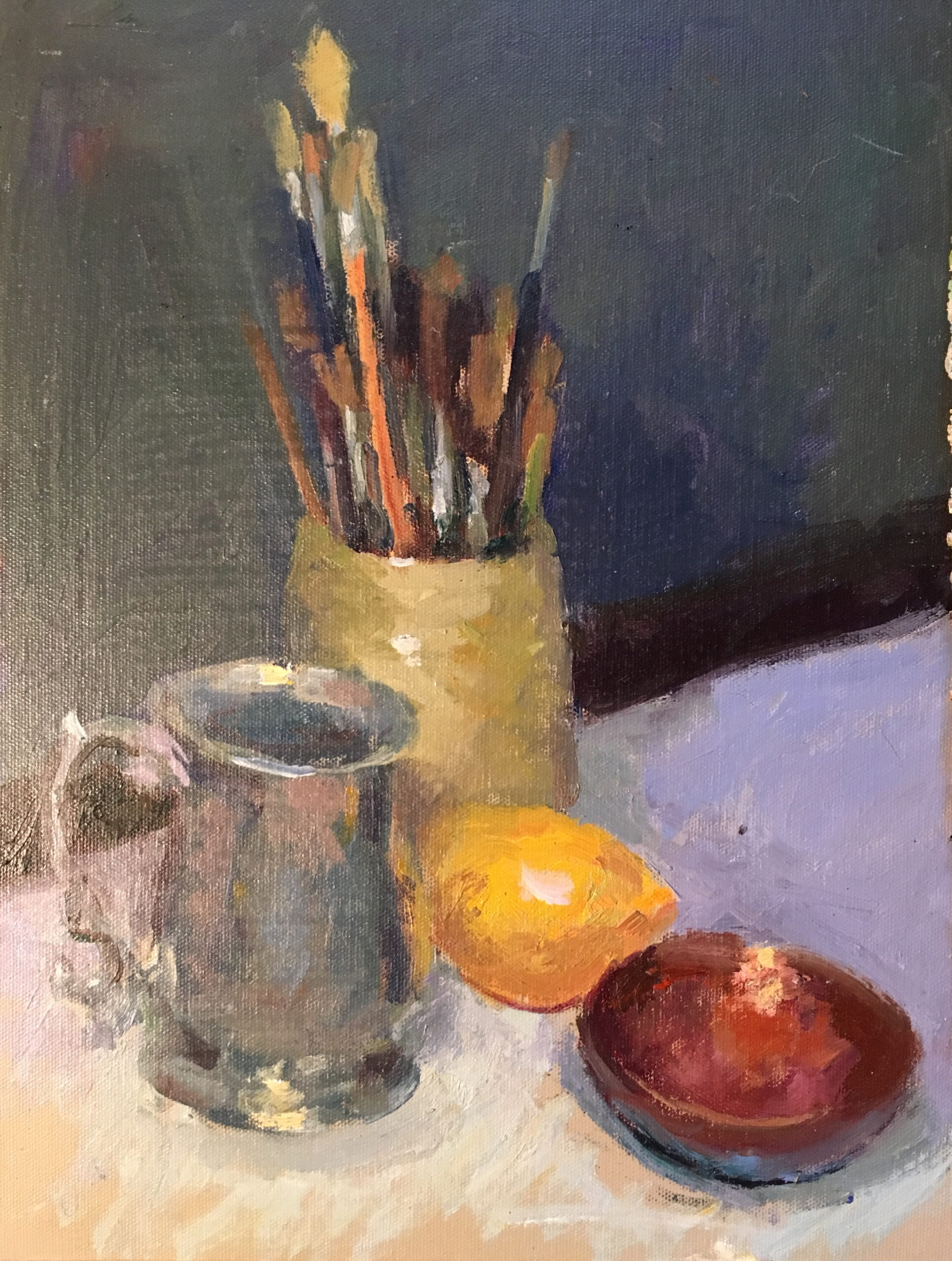Pewter and Paint Brushes, Oil on Canvas on Panel, 16 x 12 Inches, by Susan Grisell, $325