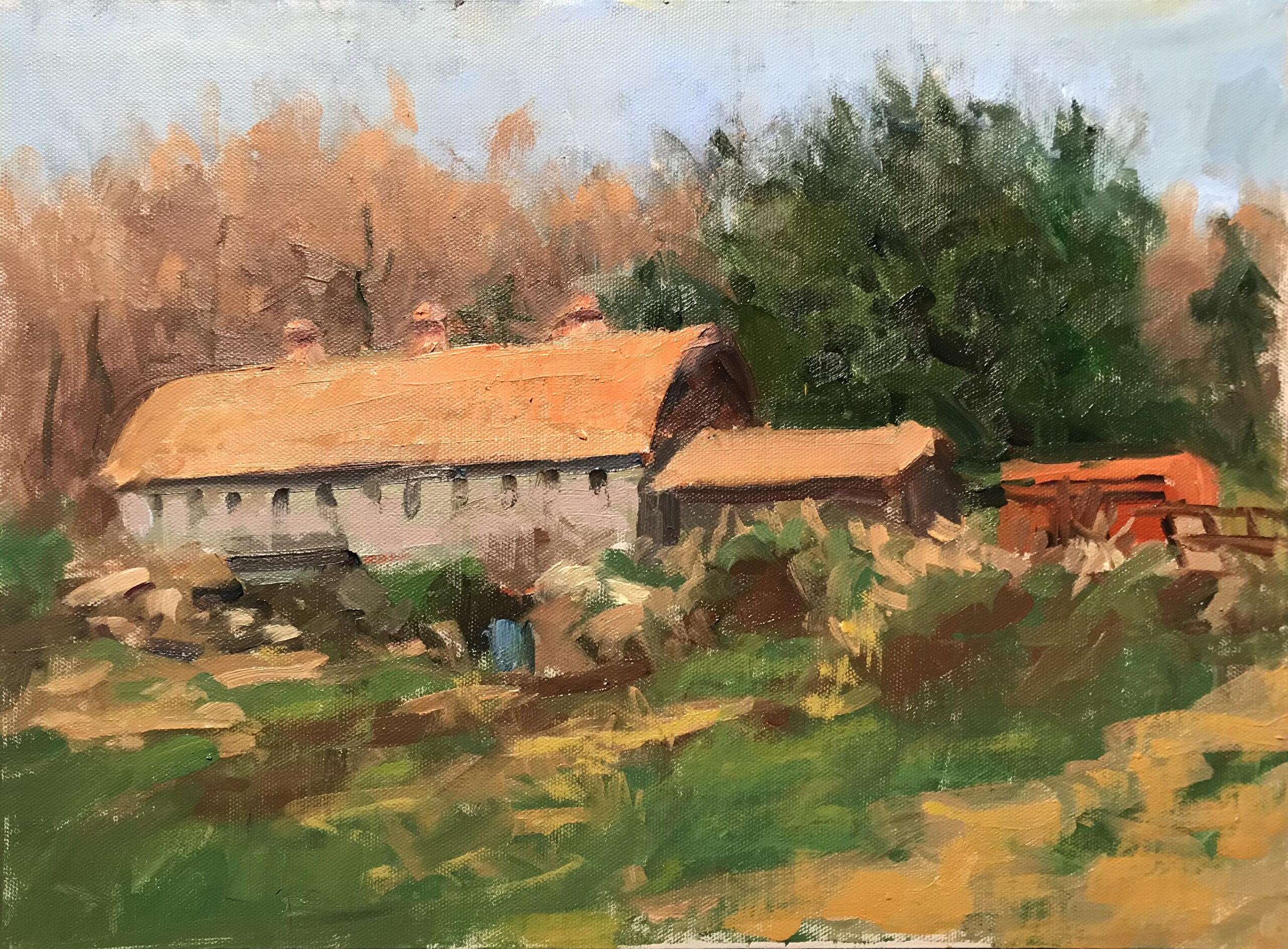 Phil's Barn, Oil on Canvas on Panel, 12 x 16 Inches, by Susan Grisell, $325