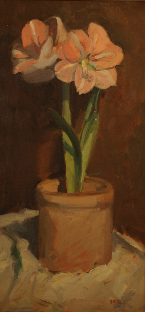 Pink Amaryllis, Oil on Canvas, 24 x 12 Inches, by Susan Grisell, $450