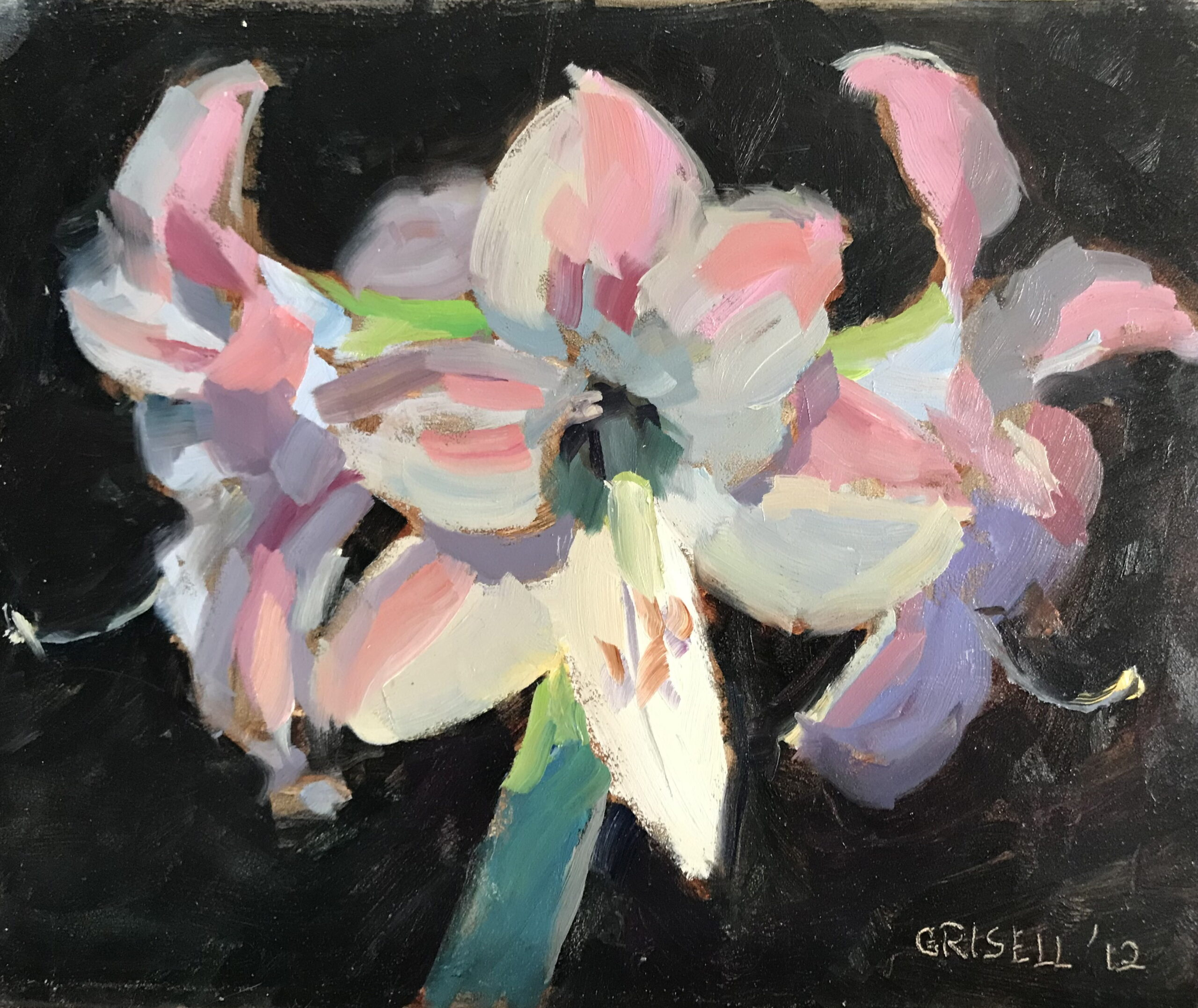 Pink Amaryllis, Oil on Canvas on Panel, 8 x 10 Inches, by Susan Grisell, $200