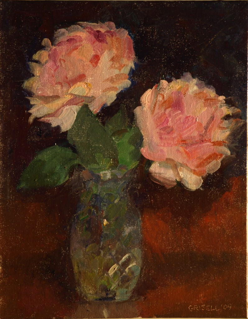 Pink Peonies, Oil on Canvas on Panel, 11 x 14 Inches, by Susan Grisell, $275