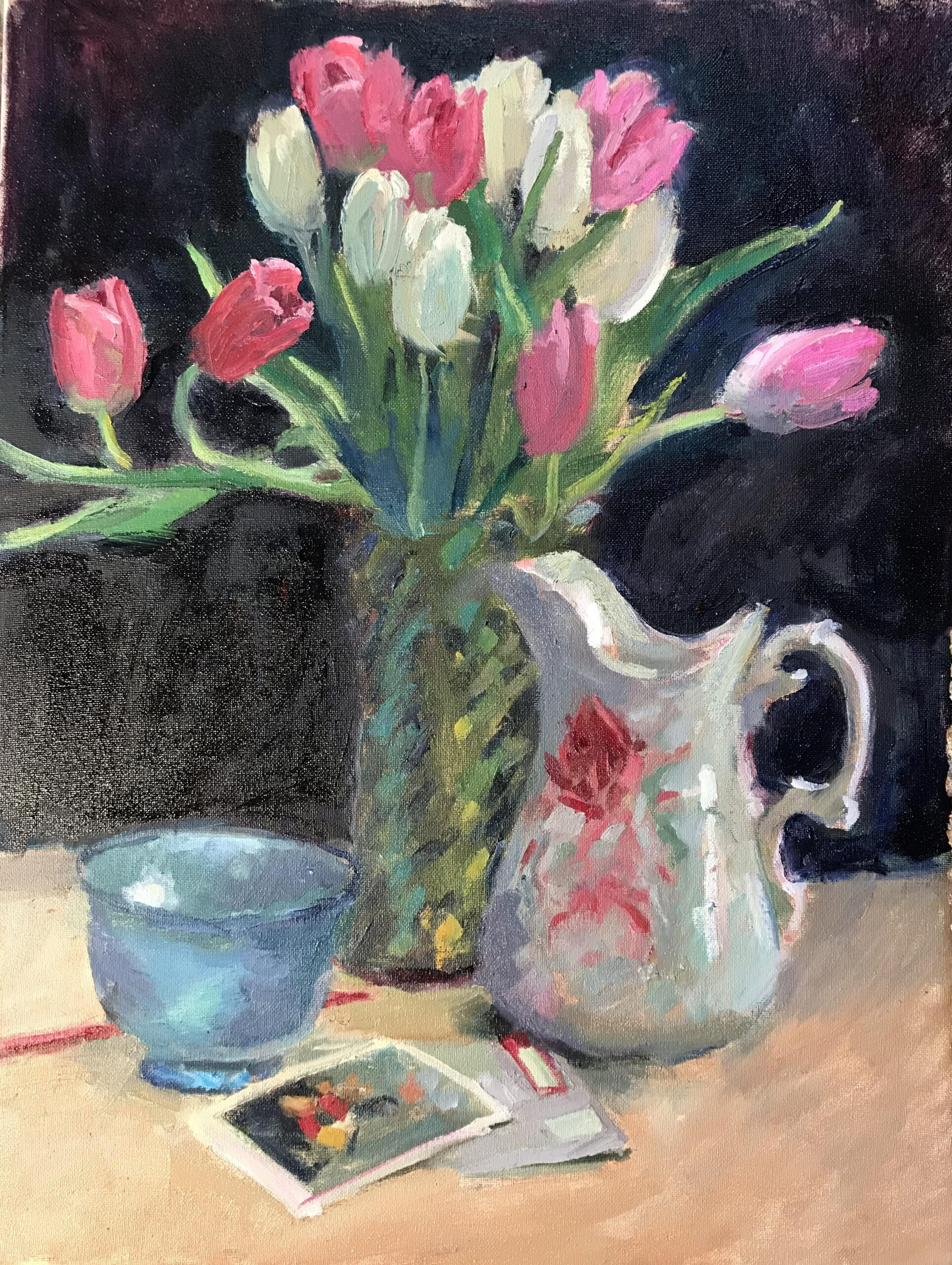 Pink and White Tulips, Oil on Canvas, 24 x 18 Inches, by Susan Grisell, $750