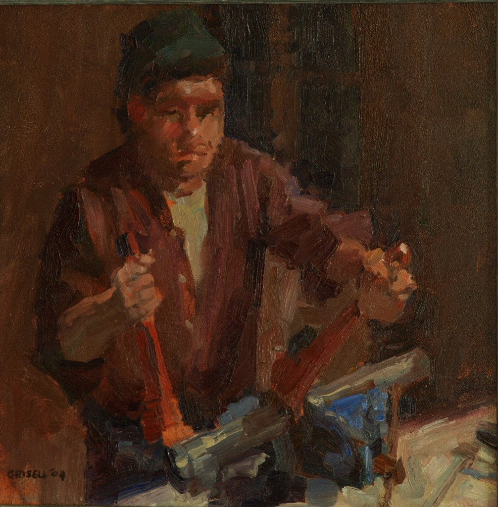 Pipefitter, Oil on Panel, 12 x 12 Inches, by Susan Grisell, $250