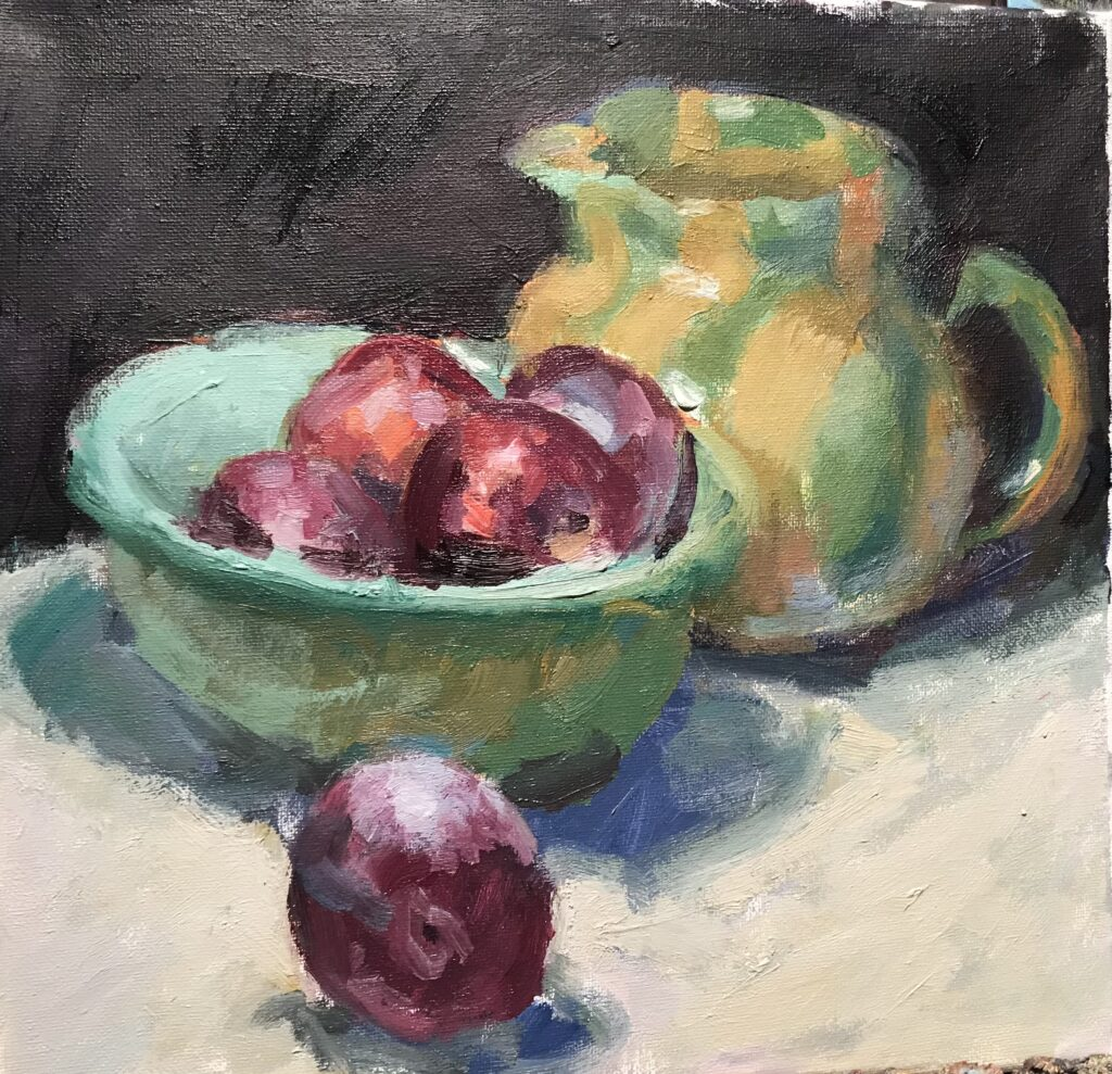 """""""Pitcher, Bowl and Plums"""" Oil on Canvas, 12 x 12 Inches by Susan Grisell $300"""