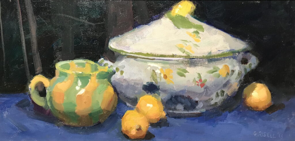 Pitcher Tureen and Lemons, Oil on Panel, 12 x 24 Inches, by Susan Grisell, $550