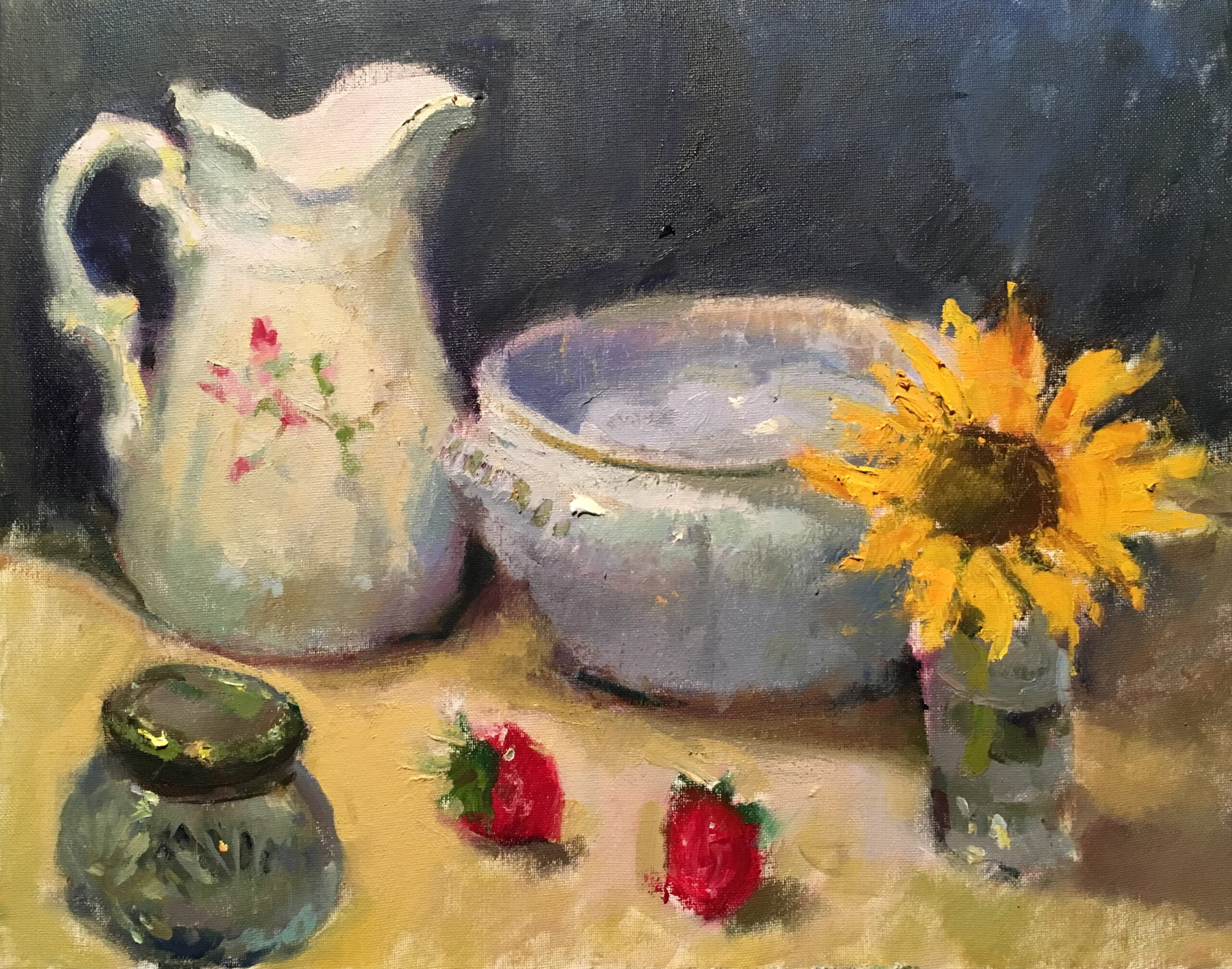 Pitcher and Tureen, Oil on Canvas, 16 x 20 Inches, by Susan Grisell, $550