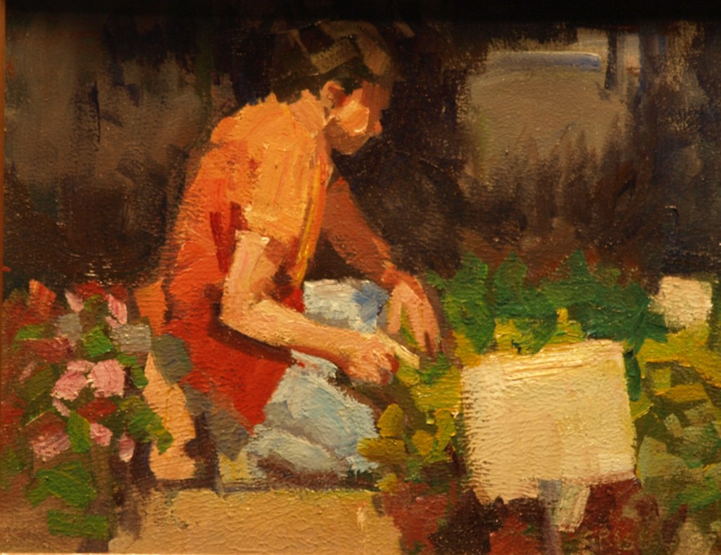 Plants for Sale, Oil on Linen on Panel, 8 x 10 Inches, by Susan Grisell, $150