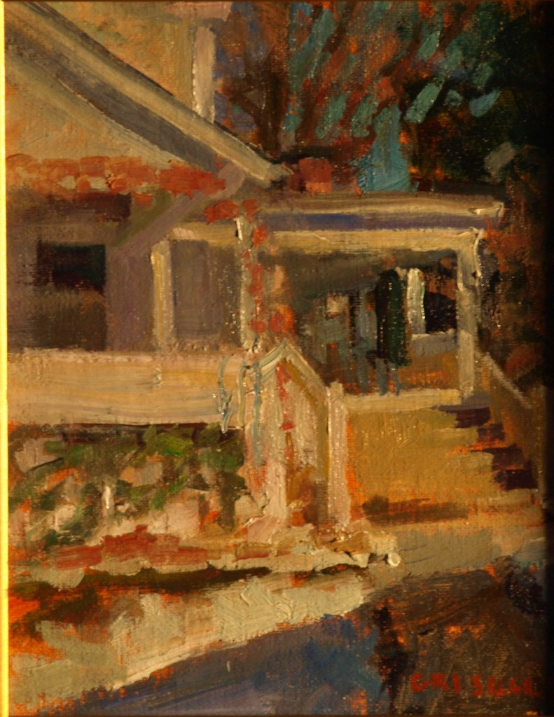 Porch in Winter, Oil on Linen on Panel, 10 x 8 Inches, by Susan Grisell, $150