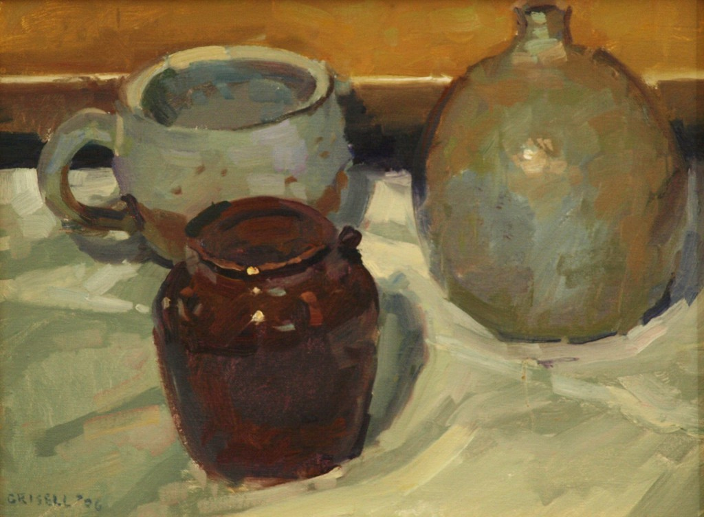 Pottery Still Life, Oil on Panel, 12 x 16 Inches, by Susan Grisell, $325