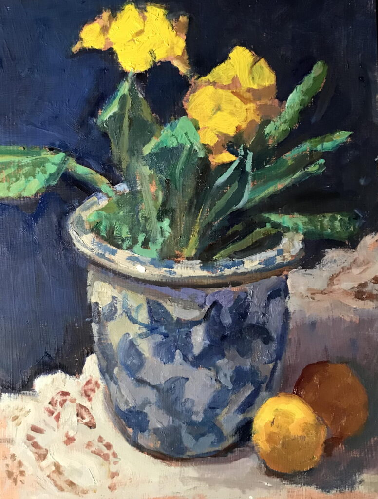 Primrose and Lemons, Oil on Panel, 16 x 12 Inches, by Susan Grisell, $325