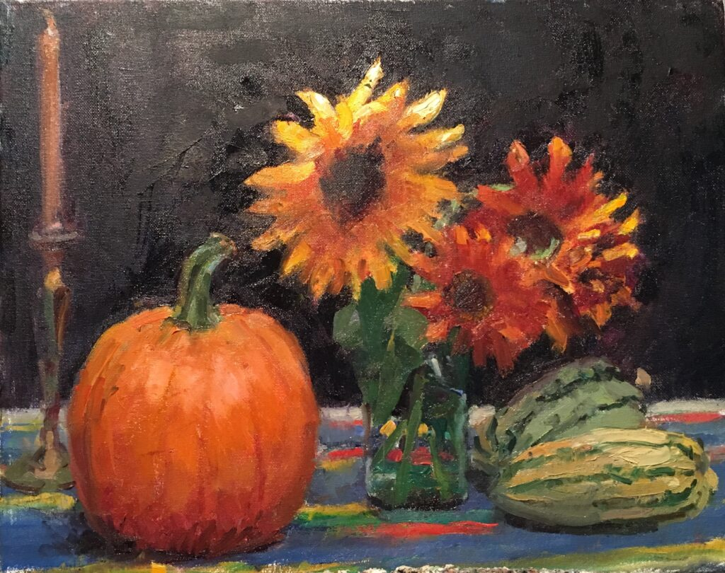 Pumpkin and Sunflowers, Oil on Canvas on Panel, 16 x 20 Inches, by Susan Grisell, $550