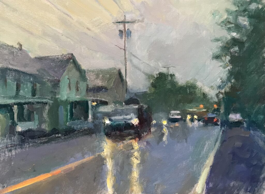 """""""Rainy Day in Kent"""", Oil on Canvas on Panel, 12 x 16 Inches, by Susan Grisell $325"""