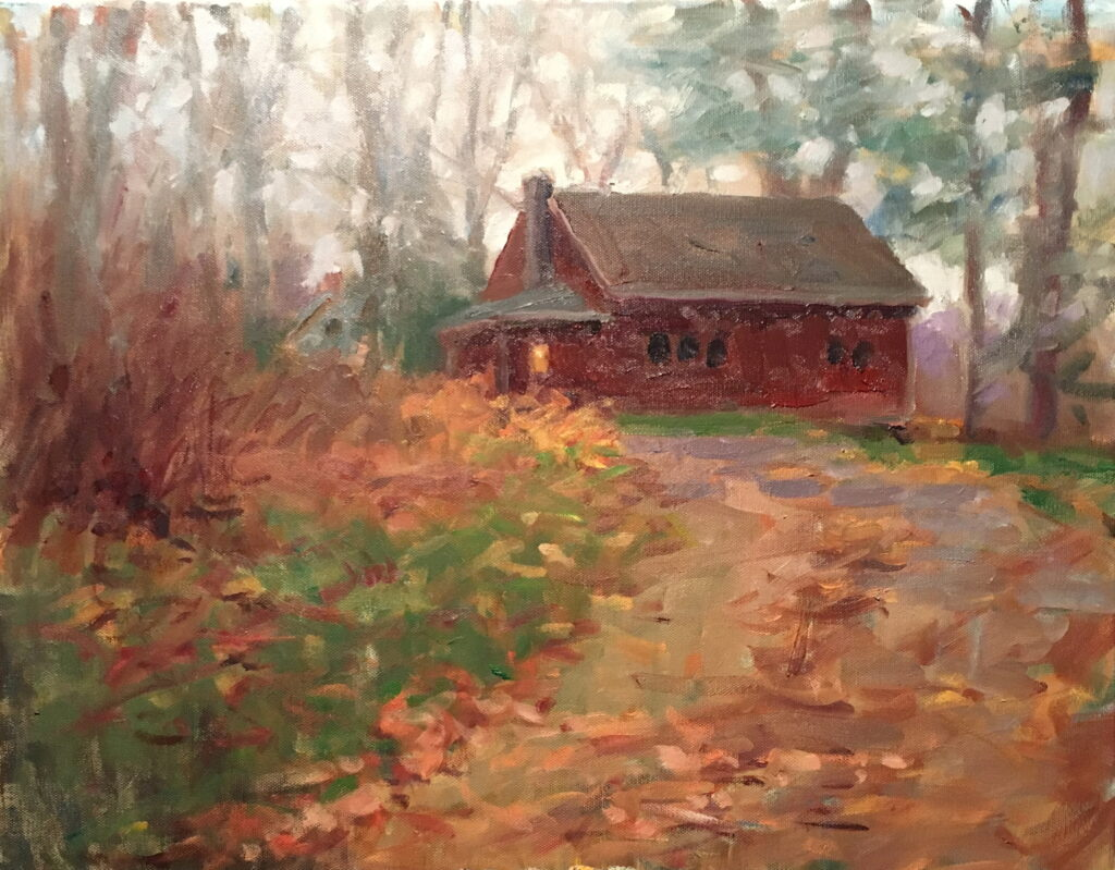 Rainy November Day, Oil on Canvas, 16 x 20 Inches, by Susan Grisell, $550
