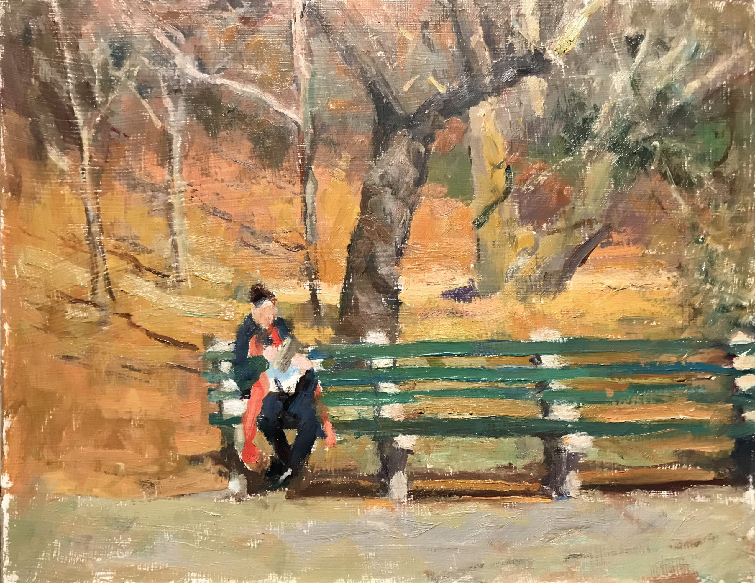 Reader in Central Park, Oil on Panel, 12 x 16 Inches, by Susan Grisell, $325