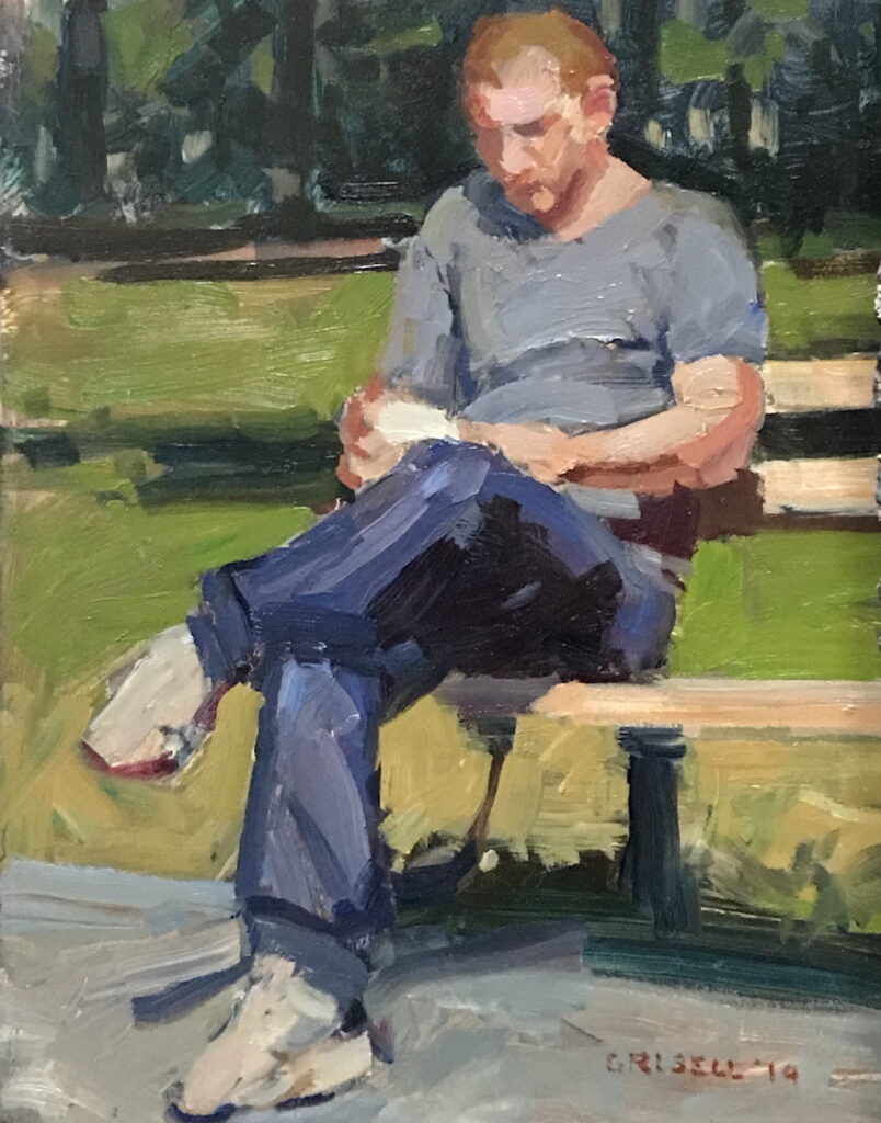 Reading al Fresco, Oil on Panel, 10 x 8 Inches, by Susan Grisell, $200