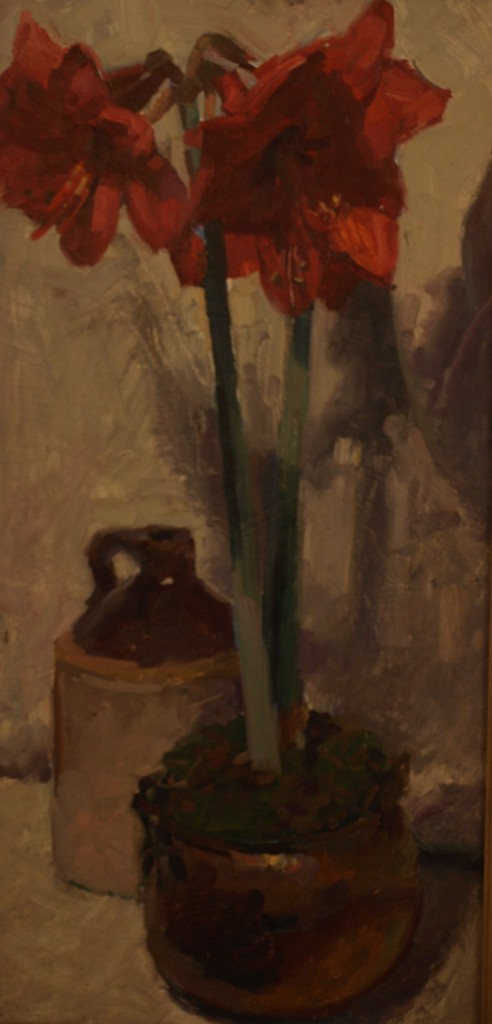 Red Amaryllis, Oil on Panel, 24 x 12 Inches, by Susan Grisell, $450