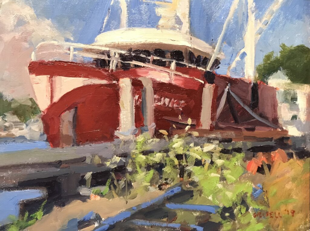 """""""Red Boat in Stonington"""", Oil on Panel, 14 x 18 Inches, $450"""