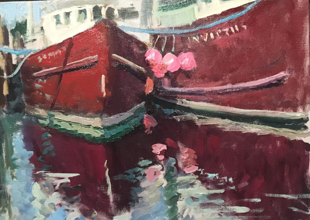 """""""Red Fishing Boats"""", Oil on Canvas on Panel, 12 x 16 Inches, by Susan Grisell $325"""