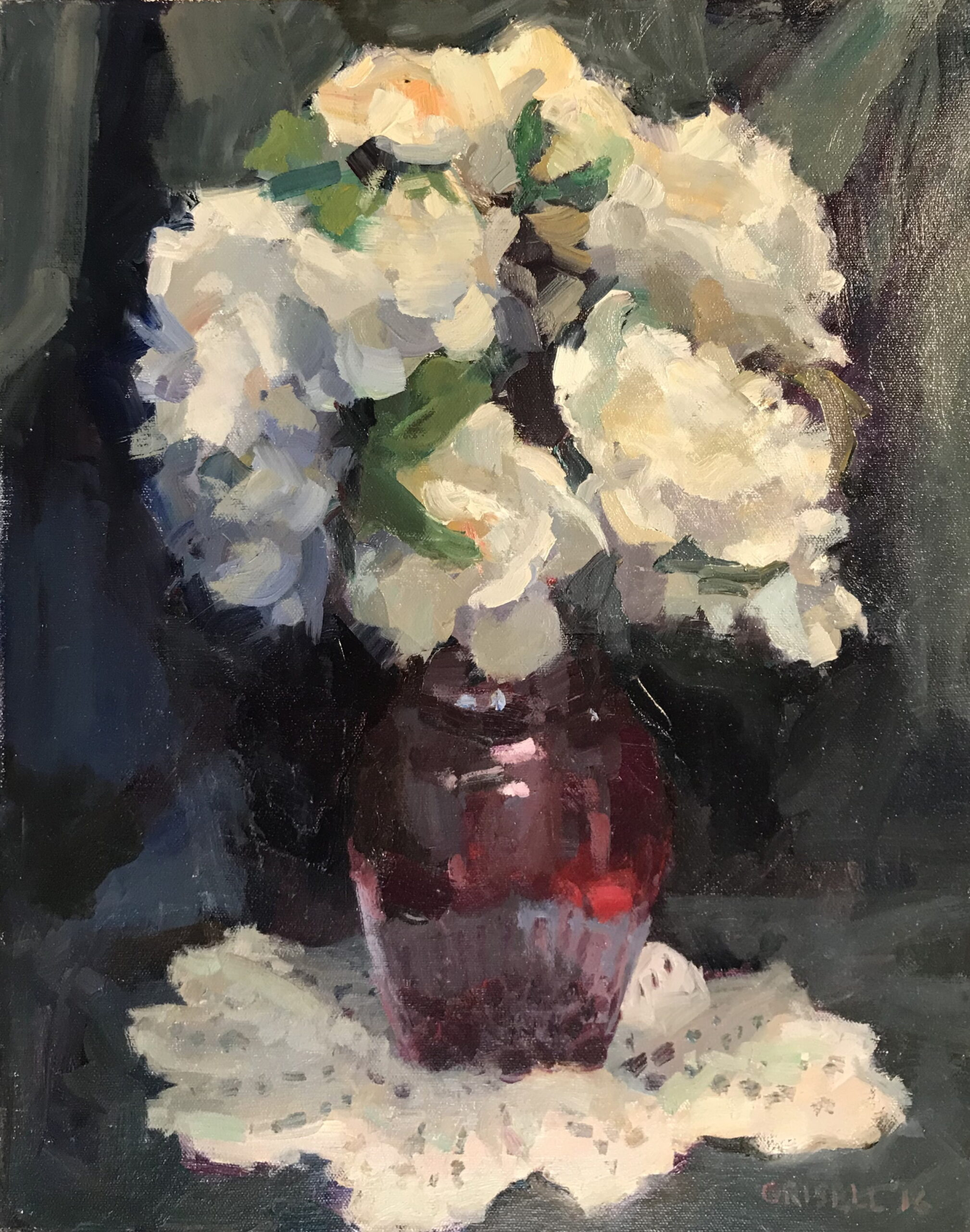 Red Vase, Oil on Canvas, 20 x 16 Inches, by Susan Grisell, $550