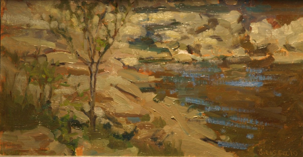 River Bed, Oil on Linen on Panel, 9 x 16 Inches, by Susan Grisell, $250