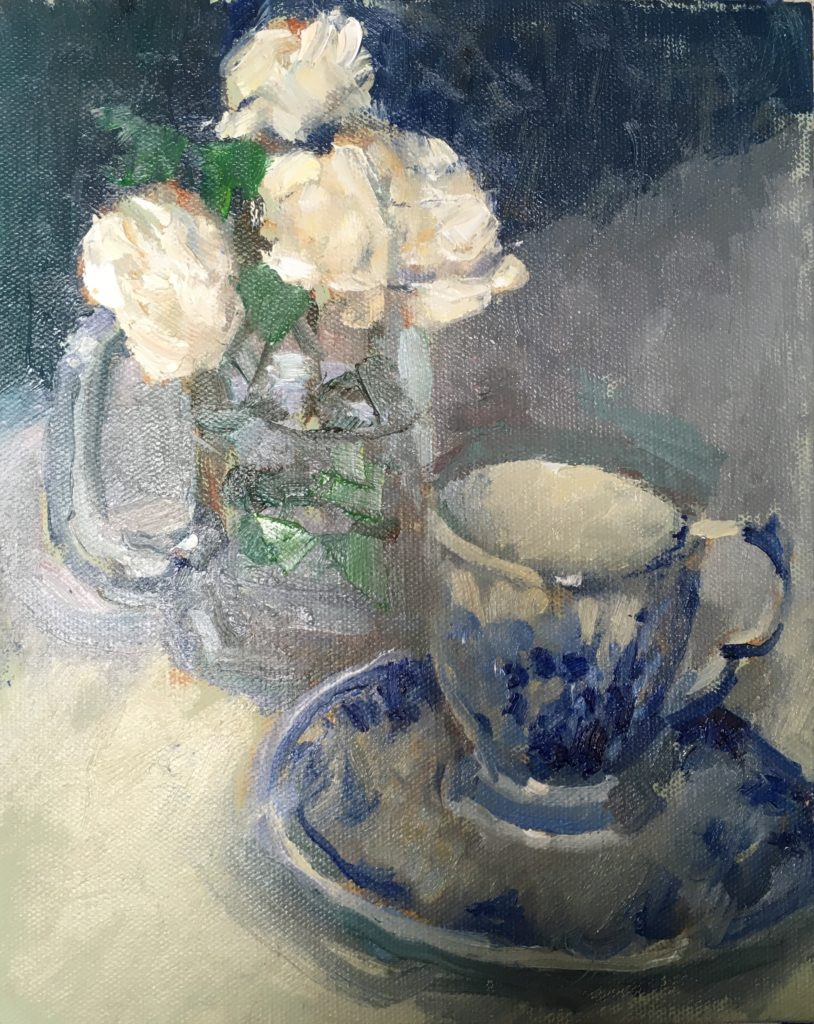 Roses and Teacup, Oil on Canvas on Panel, 10 x 8 Inches, by Susan Grisell, $200