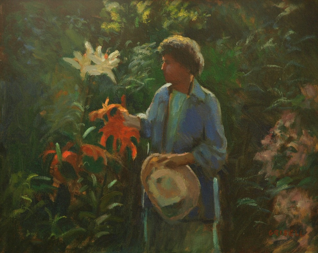 Ruth and Lilies, Oil on Canvas, 16 x 20 Inches, by Susan Grisell, $475