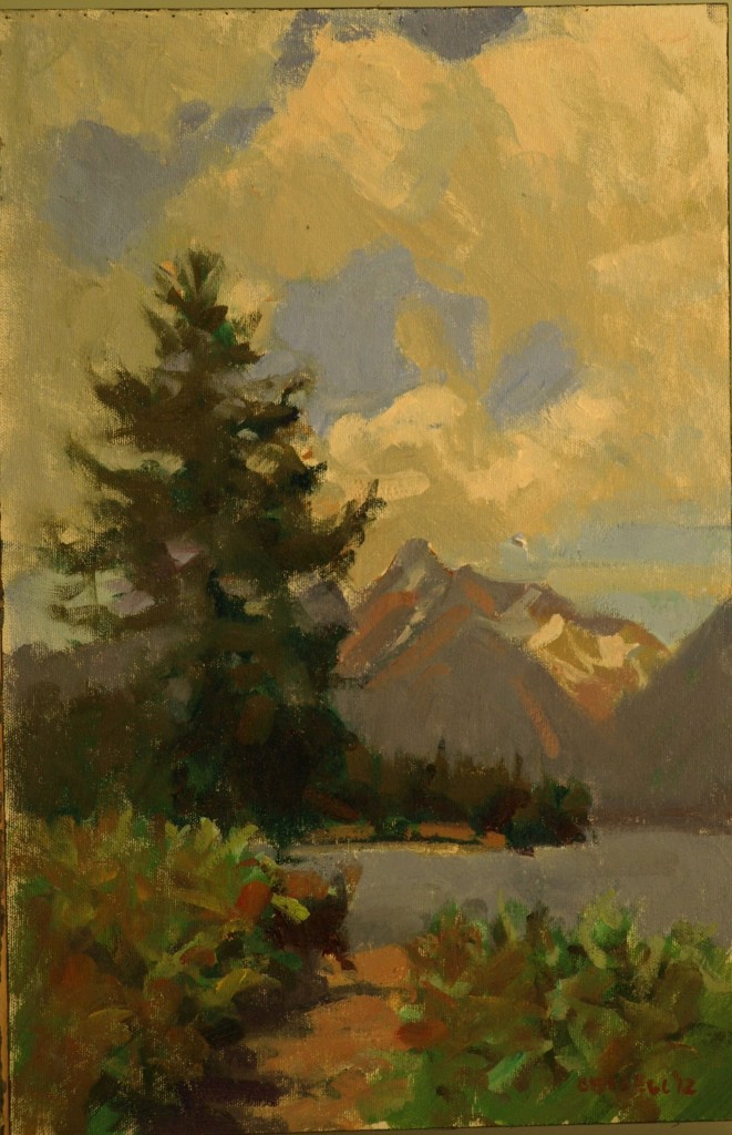 Across Jackson Lake, Oil on Canvas on Panel, 18 x 12 Inches, by Susan Grisell, $275