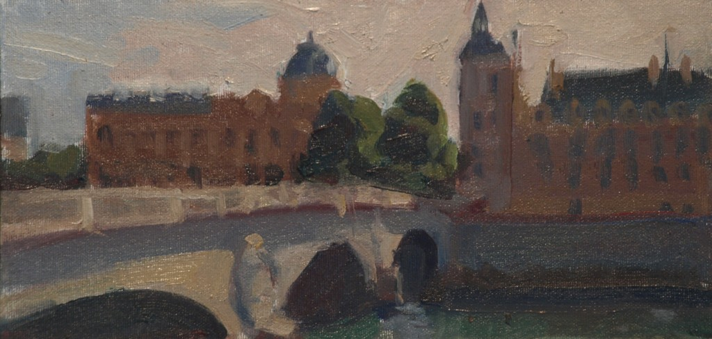 Across the Seine, Oil on Canvas on Panel, 6 x 12 Inches, by Susan Grisell, $150