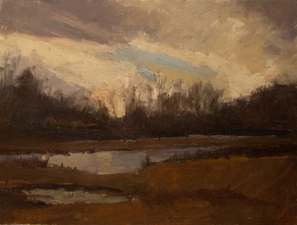 After the Thaw, Oil on Canvas on Panel, 12 x 16 Inches, by Susan Grisell, $325