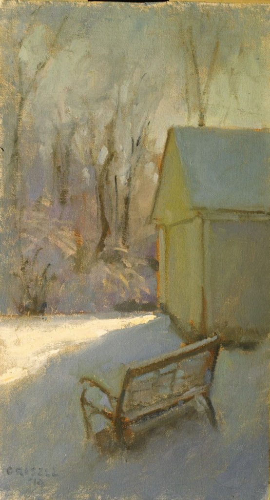 Afternoon Light in Winter, Oil on Canvas on Panel, 16 x 9 Inches, by Susan Grisell, $275