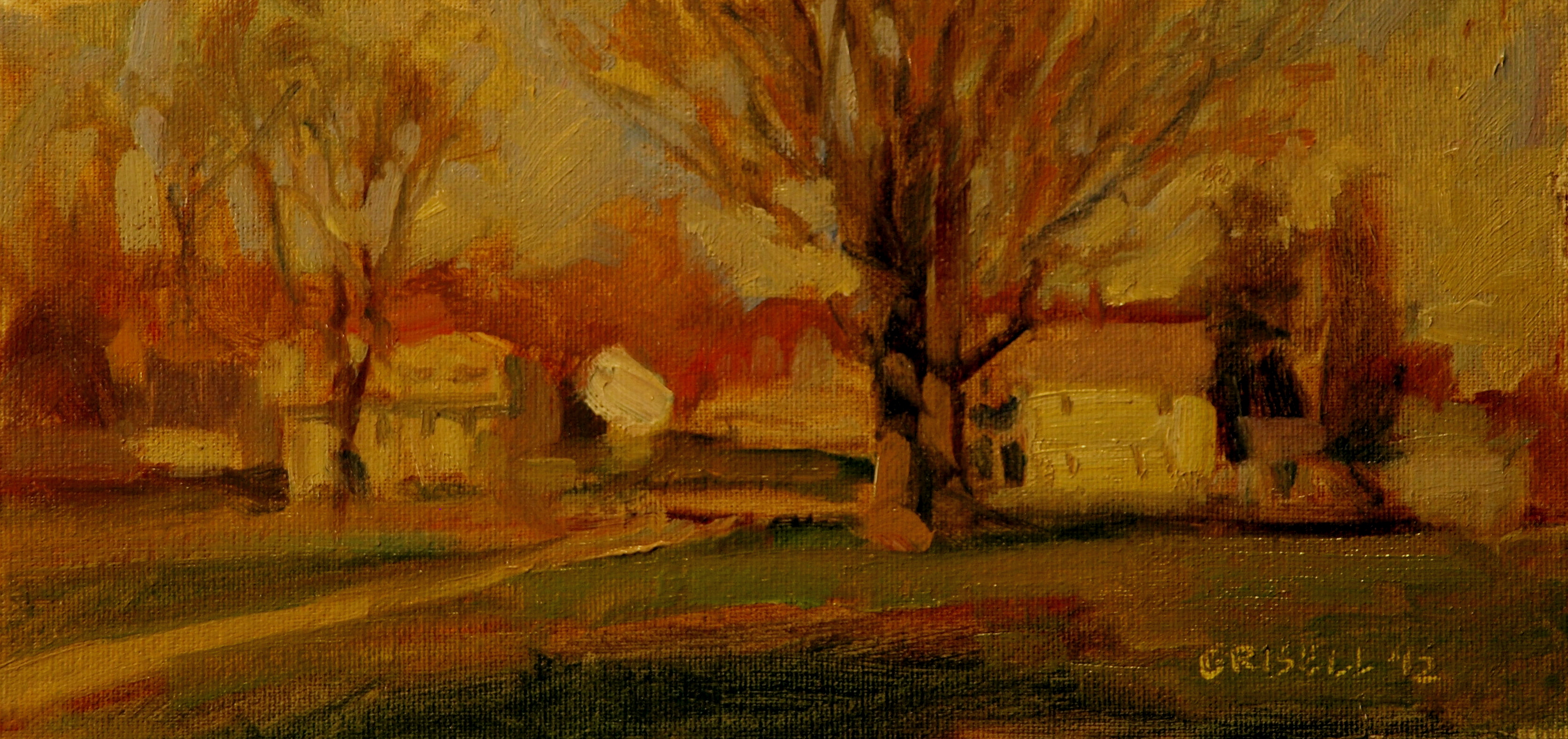 Almost Spring, Oil on Canvas on Panel, 6 x 12 Inches, by Susan Grisell, $150