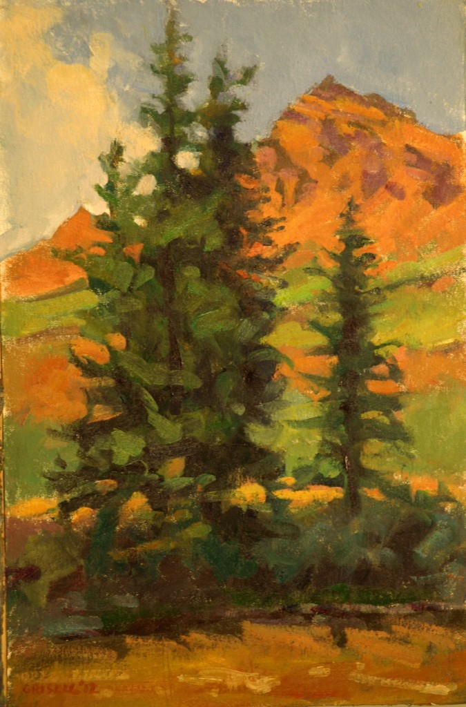Along the Snake River, Oil on Canvas on Panel, 18 x 12 Inches, by Susan Grisell, $275