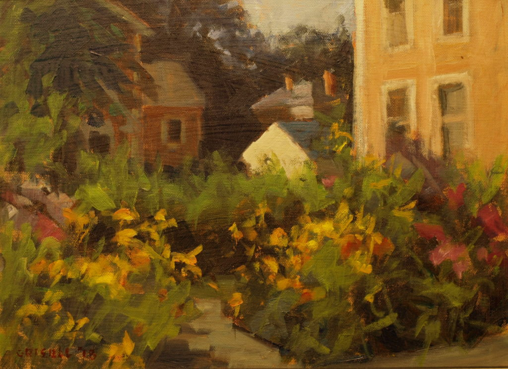 Amesbury Garden, Oil on Panel, 12 x 16 Inches, by Susan Grisell, $300
